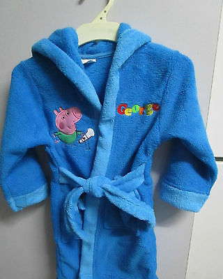 Boys Peppa Pig George Dressing Gown Size 2,4,5 & 6 Blue with red or blue trim