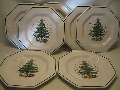 "Nikko Christmastime (7) 10 3/4"" Octagonal Dinner Plates Excellent Condition"