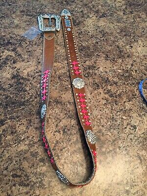 Black Leather Bling Rhinestone Square Concho Western Belt Turquoise Blue or Pink