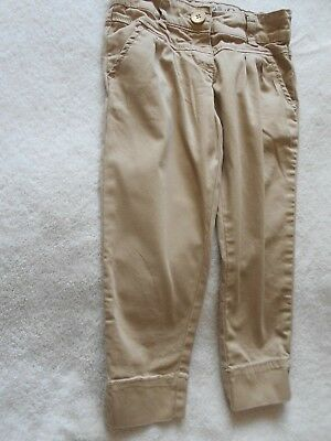 NEXT girls Chino Trousers age 6 116cm - beige pockets adjustable waist