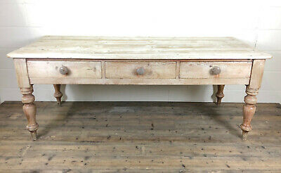Large Antique Pine Farmhouse Table with Three Drawers - Delivery Available