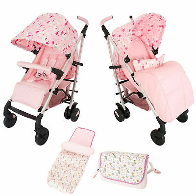 Girls Unicorn Pink Lightweight Stroller Buggy Pushchair Inc Raincover Footmuff