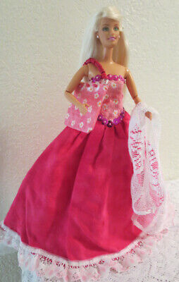 3 pc SET ~ OOAK  for STANDARD BARBIE~RASPBERRY & PINK GOWN + LACE WRAP & HANDBAG