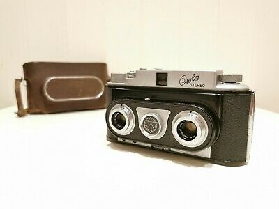 Owla Stereo 35Mm Film Camera & Case - Very Rare Early / Late Change Over Model