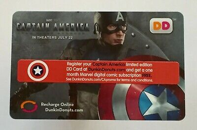 2011 Dunkin Donuts Gift Card. CAPTAIN AMERICA. Mint. Worldwide shipping $1.
