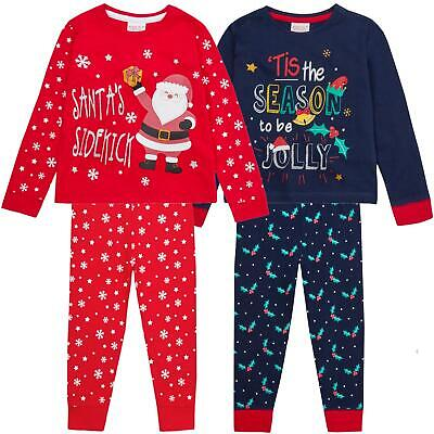 Kids Boys Girls Pyjamas PJs Set Christmas Xmas Festive Nightwear Novelty Family