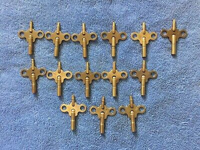 14 Clock Double ended brass clock keys  4, 5, 6, 7, 8