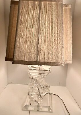 Mid Century Modern Lucite Space Age Stacked Acrylic Blocks Table Lamps Pair