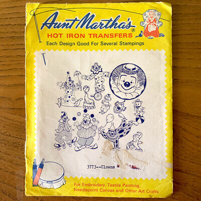 Aunt Marthas Embroidery Transfer Book 3773 - Clowns - 11 Different Motifs UNUSED