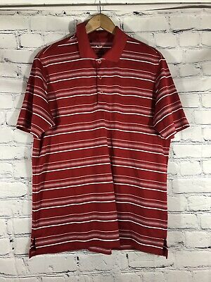 Adidas PureMotion Golf Polo Mens Medium Short Sleeve Red Striped Athletic Shirt