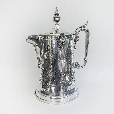 Ornate Water Pitcher Porcelain Liner Reed Barton Silverplate 1872