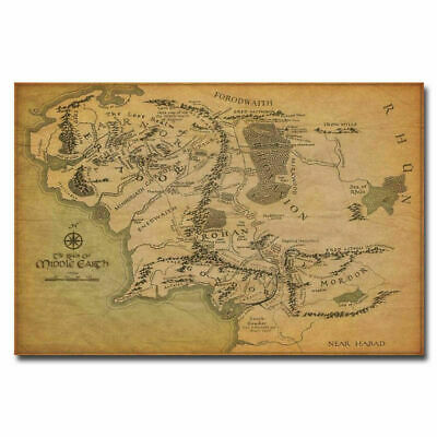 Map Of Middle Earth The Lord of the Rings Poster Art Fabric Hot Decor X-393