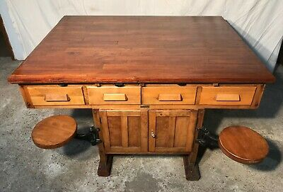 Rare Old Science Lab Table / Kitchen Island with 4 Industrial Swing out Seats