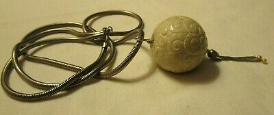 "Ancient Antique Chinese White Jade Carved Bead; Sterling 30"" Necklace"