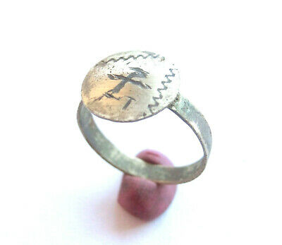 Late ROMAN PERIOD Early Christian SILVER Ring - ***CHI-RHO*** sign with T letter