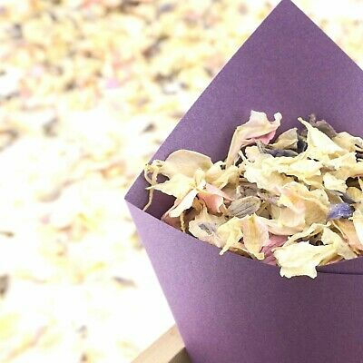 Sets of 10-100 Handcrafted Recycled Kraft Brown Wedding Confetti Cones Sample