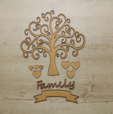 Wooden MDF Tree Swirl Shape Sign Blank Family Tree Wedding Decoration 3mm Thick
