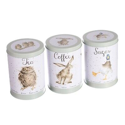 Wrendale Designs Set of 3 Tea, Coffee, Sugar Canisters - Owl, Hare, Duck