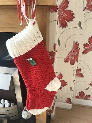 Large Christmas stockings in Red and pale cream chunky yarn Hand Knitted