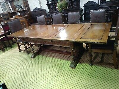 Large Solid Oak Extending Farmhouse Refectory  Table And 8 Matching Chairs