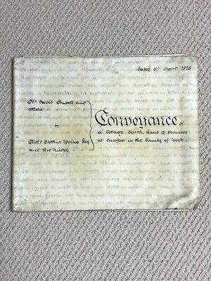 1825 Vellum Coveyance Indenture For Cottage Land Premise Ousefleet Yorkshire