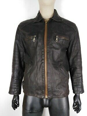 FLYING WEAR AVIATOR FLIGHT CAPPOTTO DI PELLE VINTAGE Giacca Jacket Tg M Uomo