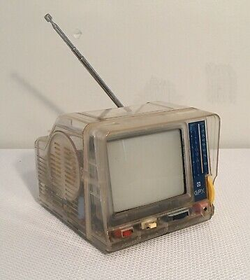Vintage Portable Black & White GPX See Through Television, 5x6, Works Great