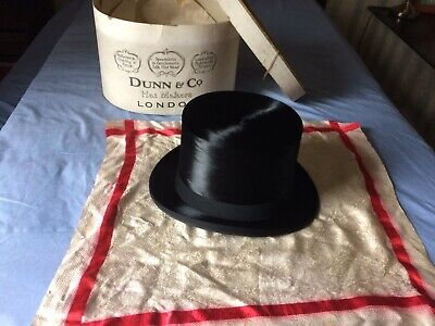 Vintage Dunn & Co Black Silk Top Hat + box