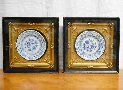 Antique Pair Blue & White Plates Mounted in Shadow Box Frames Meissen Style