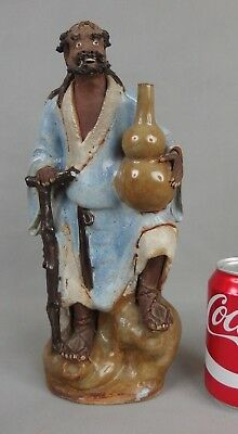 Antique Chinese Shiwan Pottery Glazed Ceramic Figure Statue Old Man 19th 20th C.