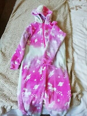 Matalan Pink And White Girls Hooded one piece Age 9 Yrs