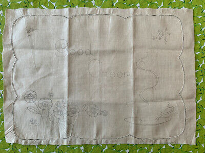 "Vintage Traced Linen to Embroider Breakfast Tray Cloth 5409 13x18"" + Serviette"