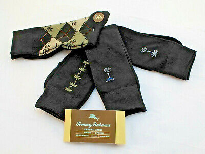 NWT TOMMY BAHAMA One Size Fit Most 4 Pairs Palm Ribbed Crew Socks RETAIL $22