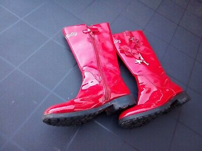 Girls Red Lelli Kelly Boots Infant Size 29 UK 11 long patent leather