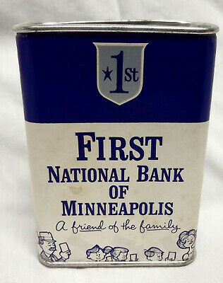 Vintage First National Bank of Minneapolis Minnesota toy canister savings dime