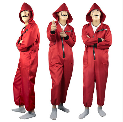 Cosplay Halloween Unisex Red Jumpsuit Clown Costume Loose Hooded Bodysuit Zsell