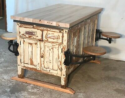 Rare Old Science Lab Table / Kitchen Island with Four Industrial Swing out Seats
