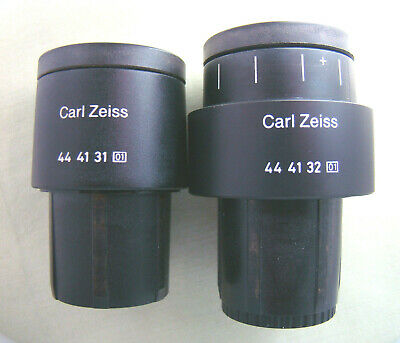 ZEISS PL 10X/18 MICROSCOPE EYEPIECES PAIR with GRATICULE