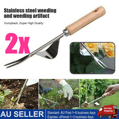 Homes Garden Fork Hand Seedling Transplanter Stainless Steel Weed Digging Puller