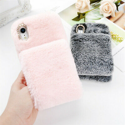 Stylish Warm Soft Faux Furry Diamond Phone Case Cover For iPhone 8P XR XS MAX 7
