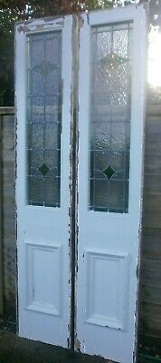 Antique Pair 7ft leaded stained glass front door side panels in frame