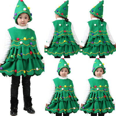 New Kids Children Christmas Tree Costume Xmas Fancy Dress Cosplay Party Outfit