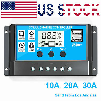 30A Solar Panel Charge Controller Battery Regulator DC12V/24V  PV 50V  With USB