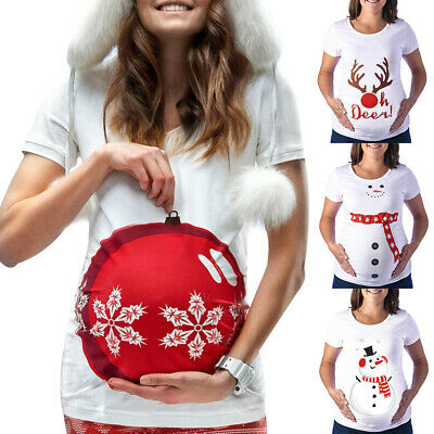 Christmas Maternity Top Pregnancy Womens Short Sleeve T-Shirt Blouse Jumper