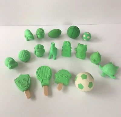* SMIGGLE ERASERS 17 Green Assorted Rubbers Robot Frog Soccer Balls - NEW & USED
