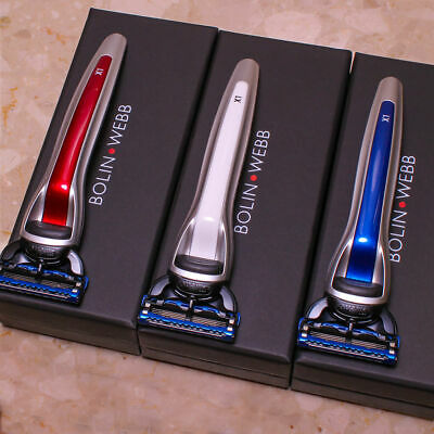 3 Bolin Webb X1 Argent Fusion Razors, Red, White & Blue in Gift Boxes