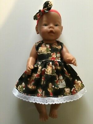 "DOLLS CLOTHES FOR 17"" BABY BORN~CABBAGE PATCH *Christmas~Teddies~Dress~Headband*"