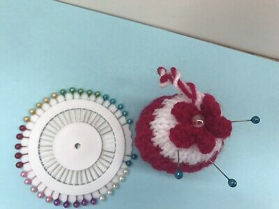Hand Knitted pin cushion Hanging Cupcake Design + Pinwheel Deep Red