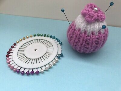 Hand Knitted pin cushion Hanging Cupcake Design + Pinwheel Pink