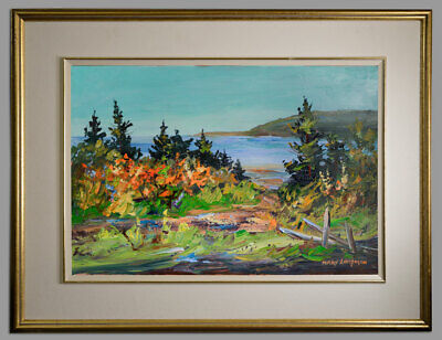 Mary Lampman Canadian School Expressionist Oil Indian Summer Landscape Ontario